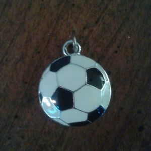 Jewelry - Nwot soccer ball charm with silvertone background